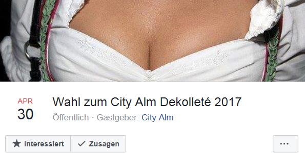 """Sexistische Werbung der Bar """"City Alm"""" Salzburg"""